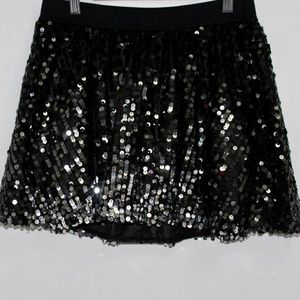 Justice Ombre Sequins Girl Skirt Black Grey Silver